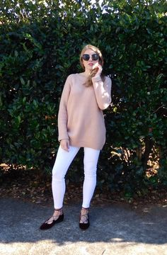 check out my newest spring style, on the blog! sunglasses, blush sweater, velvet lace-up flats
