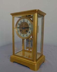 Reloj francés de cristal antiguo 4 con el movimiento por Martí. - Gavin Douglas Antigüedades