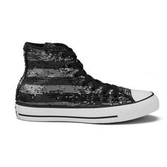 Converse Women's Chuck Taylor All Star Sequin Flag Hi-Top Trainers -... (1 180 ZAR) ❤ liked on Polyvore featuring shoes, sneakers, white sneakers, sequin high top sneakers, white high top sneakers, converse high tops and white flat shoes