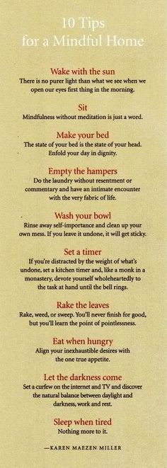 Zen Cleaning tips...I truly love these and plan to print them and post them on the fridge.