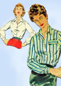 1950s Vintage Simplicity Sewing Pattern 4853 Uncut Misses Blouse Size 14 32B