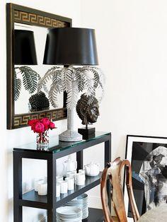 Black Shelf With White China // Design by Patrick Mele