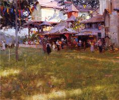 King Richard's Faire (1990; detail, oil on panel, 8×14) by Richard Schmid #OilPainting #FineArt