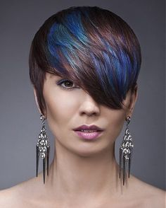 A short black straight coloured multi-tonal womens blue streaks hairstyle by The Art of Hair