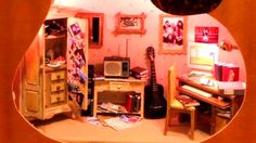 Miniature Doll House Carved Inside Guitar