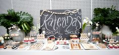 Loving this chalkboard backdrop for a bridal shower sweets table.