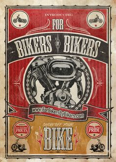 For Bikers By Bikers Poster by Guillermo Herrera, via Behance