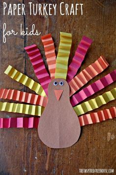 EASY TURKEY CRAFT FOR CHILDREN - The inspired tree houseBuilding fine motor skills Thanksgiving! Try this cute kid's craft to celebrate the holiday!Easy Turkey Crafts for toddlers easy turk .Easy Turkey Crafts for Toddlers Cute Kids Crafts, Daycare Crafts, Classroom Crafts, Easy Crafts, Toddler Paper Crafts, Fall Toddler Crafts, Glue Crafts, Kids Diy, Decor Crafts