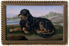 Micromosaic | Click to see full size: Micromosaic of a Gordon Setter set to an ivory ...