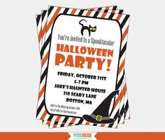 Halloween Party Invitation - Kids Halloween Invitation Download by PixieBearParty on Etsy, $15.00
