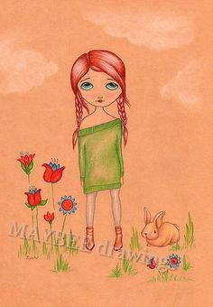 Online print, Linda, colored drawing, cute drawing, gir drawing, girly drawing, colored pencil drawing, colored pencil