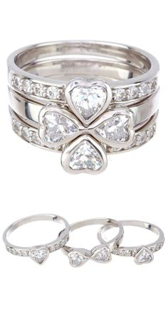 Stacking hearts ring // four hearts become a clover