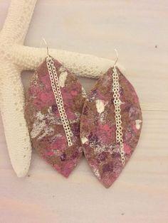Hand Painted Earrings - Leather Drop Earrings - Colorful Leather Earrings - Large Boho Earrings - Leather Leaf Earrings - Bohemian Leather