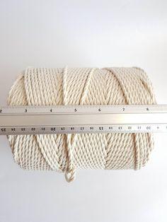 Macrame cord about 260 m cotton cord 3 strand 5 / 32 in macrame rope. Cotton Cord, Cotton String, Macrame Supplies, Macrame Projects, Macrame Cord, Macrame Bag, Crochet Girls Dress Pattern, 3 Strand Twist, Plant Hanger
