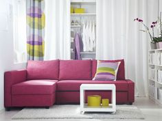 This looks like the same sofa from ikea….Interior, Fascinating Minimalist Corner Pink Sofa Bed For Your Living Room With Cushions And White Color Room Nuance: Gorgeous Fashionable Sofa Beds For Perfect Interior Design Ideas Pink Living Room Furniture, Ikea Living Room, Living Room Seating, Living Rooms, Interior Ikea, Home Interior Design, Interior Paint, Sofa Design, Pink Sofa Bed