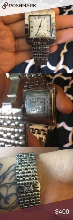 """ESCADA """"Megan"""" watch Beautiful and timeless. Silver stainless steel and rose gold Swiss made. 3ATM water resistant. Beautiful condition. Requires a new battery Escada Accessories Watches"""