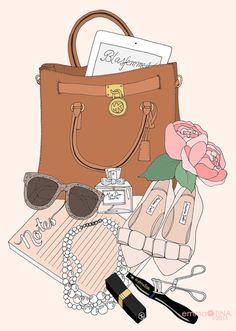 What's In My Bag, illustration by @EmmaKisstina /Kristina Hultkrantz ♡