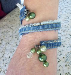 Upcycled Denim Bangle with Vintage bead by AngieHallHaviland, $8.00