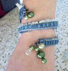 Upcycled Denim Bangle with Vintage bead by AngieHallHaviland, $8.00