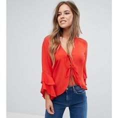 John Zack Petite Tie Front Blouse With Ruffle Sleeve (70 AUD) ❤ liked on Polyvore featuring tops, blouses, petite, pink, party tops, petite lace top, ruffle sleeve top, tie front blouse and flutter sleeve blouse