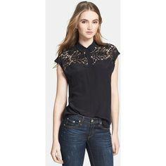 Rebecca Taylor Lace Yoke Silk Blouse Black 0