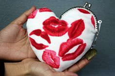 Kiss Your Heart Purse  Kiss Lips Cotton Fabric with by CottonTimes, $22.90