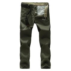 Fabric Material:  95% Cotton   Closure Type:   Zipper Fly   Decoration: Solid Color        Thickness:   Thin Fit Type: Slim Fit   Color: Army Green, Light Green, Dark Blue   Occasion:   Casual, Outdoor   Season:   Spring, Summer,                Autunm, Winter   Tag Size: 30, 32, 34, 36, 38, 40, 42    Package included:   1*Pants ( No Belt )        Please Note:                1.Please see the Size Reference to find the correct size.