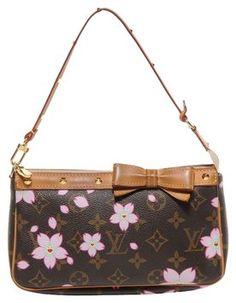 Louis Vuitton Pochette Accessories Brown Multi-color Cherry Blossom Baguette $760