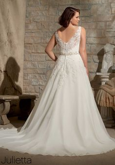Plus Size Wedding Dress 3173 Embroidered Appliques with Crystal Beading on Delicate Chiffon
