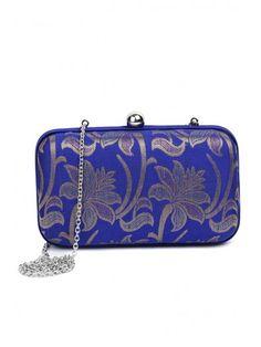 Royal Blue Brocade Box Clutch