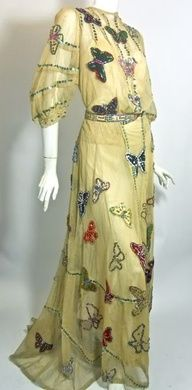 Image detail for -early 1900s velvet and silk sequin trimmed butterfly stage gown ...