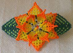 Items similar to ON SALE Yellow Orange Flower Glass Beaded Huichol Hair Clip on Etsy Seed Bead Earrings, Seed Beads, Bead Jewelry, Beading Projects, Beading Tutorials, Flower Hair Clips, Flowers In Hair, Barrette, Crochet Bedspread Pattern
