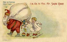 Holiday Postcards, Vintage Postcards, Animal Cards, Vintage Santas, Vintage Christmas Cards, Christmas Holidays, Xmas, Winnie The Pooh, Creepy