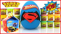 Our GIANT BATMAN vs SUPERMAN Hot Wheels Superheroes Play Doh Surprise Egg with 2016 McDonalds Happy Meal Kids Toys! This awesome set includes awesome cars DC Comics characters like Batman Superman Robin The Joker The Flash Aquaman Cyborg and the Green Lantern!  These Hot Wheels Happy Meal cars do some CRAZY things! One of them even runs over R2D2!  Don't forget we are still playing our finding R2D2 game so let us know where you find him in the comments below!   More Fun Videos!  McDonald's…