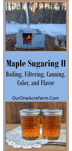 Make your own maple syrup! Part I explained how to identify the trees and collect the sap, and this part details how to boil off the sap, and how to filter and can the syrup. Also covers info on color and flavor. (scheduled via http://www.tailwindapp.com?utm_source=pinterest&utm_medium=twpin&utm_content=post543601&utm_campaign=scheduler_attribution)