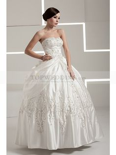 Sleeveless Ruched Satin Ball Gown with Embroidery and Beads
