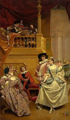 "Gustave Jean Jacquet:  ""Costume ball"" (Minuet), 1880,  oil on canvas, Dimensions:236 × 139.5 cm (92.9 × 54.9 in), Current location	 National Museum in Warsaw (MNW)."