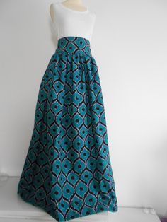 Long skirt in wax (African loincloth): Skirt by la-grace-wax Moda look African Attire, African Wear, Modest Dresses, Cute Dresses, Chitenge Dresses, Diy Clothes, Clothes For Women, Africa Fashion, Mode Inspiration