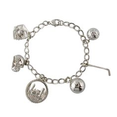 Sterling Silver Boston Sports Charm Bracelet, Including a Baseball Glove, Soccer Ball, Football Helmet, Basketball, Hockey Stick, and Boston Skyline Medallion.