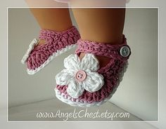 Ravelry: MaryJanes Booties Shoes With Flowers Sizes Preemie TO 2 Years PDF Crochet Pattern No. 3 pattern by Mary Angel Morris