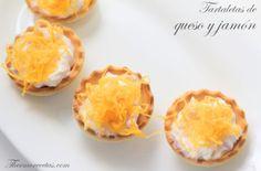 Tartaletas de jamón y queso con huevo hilado (express)