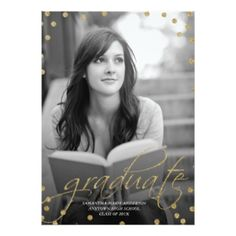 Gold Glitter Look Photo Graduation Invitation 5