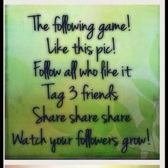 I just discovered this while shopping on Poshmark: The following game, increase followers Follow me☺️. Check it out!  Size: Follower Game