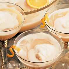 Almond adds a delightful flavor to this festive punch. Serve with an ice ring made with orange slices and maraschino cherries. Christmas Drinks, Holiday Drinks, Thanksgiving Recipes, Holiday Recipes, Sherbert Punch, Tasty, Yummy Food, Almond, Ice Ring
