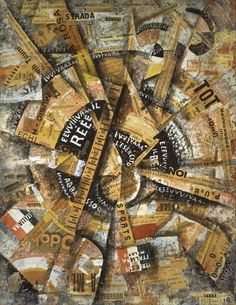 "Carlo Carrà - ""Interventionist Demonstration"" - 1914 - A component promoted by Mussolini of Fascism is the intervention of Italy in WWI. This painting by Futurist artist Carrà illustrates how he, as well as perhaps other Futurists, supported the intervention. The disorganization indicates the chaos they supported and believed was necessary. https://en.wikipedia.org/wiki/Fascism http://www.guggenheim-venice.it/inglese/collections/artisti/dettagli/opere_dett.php?id_art=170&id_opera=391"