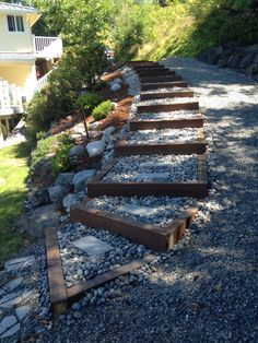 Landscape stairs at our beach house leading to our lawn down to the water. Used treated 4x6 landscape cedar timbers and 1to 1 1/2 inch gravel to fill with cement stepping stones.