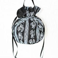 Black with white floral pattern pompadour purse evening handbag wristlet drawstring reticule by AlicesLittleRabbit on Etsy Black Satin, Black Cotton, Pompadour, Gothic Fashion, Sew, Delicate, Fashion Outfits, Purses, Floral