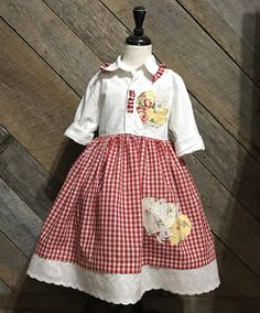 Farm/Country Dress...size 5/6 Ready to ship This dress was made with a lovely vintage red check. Its embellished with an eyelet trim and fabric hearts and lace motifs... All of my items are handmade by me. They come from a smoke free home.