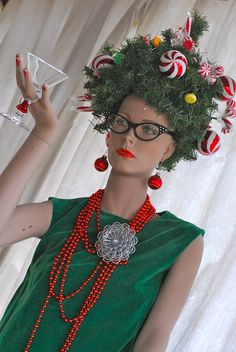 crazy christmas costumes crazy christmas costumes Favorite thing to decorate for the holidays is my mannequin Diy Ugly Christmas Sweater, Tacky Christmas, Ugly Sweater Party, Christmas Hair, Christmas Love, Christmas Scenes, Christmas Headpiece, Christmas Outfits, Costume Halloween