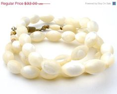 "Sale Mother Of Pearl Necklace MOP Bead Art Deco 18"" Long"